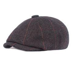 7a0a597d038a6 US$ 10.30 - Men Vintage Stripe Thickening Adjustable Cotton Warm Breathable  Comfortable Beret Cap Flat