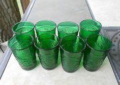Lot 8 Vintage Forest Green Sandwich / Oatmeal Depression Tumblers Glasses 4 OZ Wedding Vintage, Anchor Hocking, Carnival Glass, Vintage Glassware, Glass Collection, Tumblers, Envy, Depression, Oatmeal