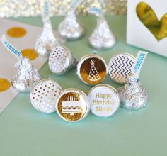 PERSONALIZED METALLIC FOIL HERSHEY'S® KISSES LABELS TRIO (SET OF 108) - BIRTHDAY