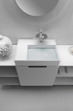 Conceal the waste and overflow for a clean architectural space #bathroom #kartellbylaufen