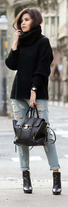Ripped Chained Jeans Turtleneck Sweater Knit Coach Booties | Designer Deal Today