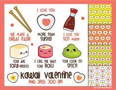 50% OFF, Valentine clipart, kawaii clipart, kawaii valentine clipart, sushi clipart, tofu clipart, valentine digital paper, Commercial use