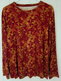 Women's XL NorthCrest Long Sleeve Cotton Fall Colors Top Excellent Used Cond. #NorthCrest #KnitTop