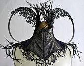 Black feather, Steel Boned, 'Lizard Skin', Neck Corset with Blue/Black fabric