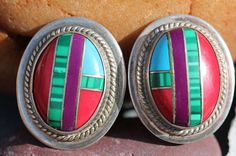 Vintage Mexican 925 Sterling Silver Channel Set Inlay Art Glass Clip On Earrings Southwest