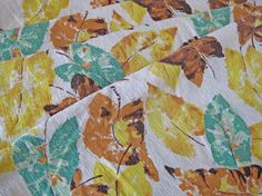 French barkcloth fabric with autumnal leaf print mid by Couturesse, $40.00