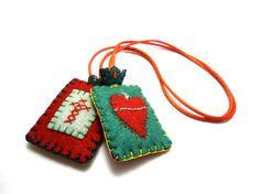 Felt Sacred Heart Escapulario Necklace