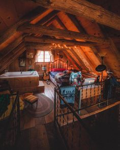 Cabin loft by eddie Cabin Loft, Log Cabin Homes, Log Cabins, Cozy Cabin, Cabin Interiors, Cabins And Cottages, Cabins In The Woods, Cozy House, My Dream Home