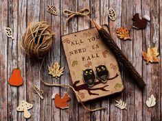 Owls Journal with handpainted tree leaves and by verdesedano_handmade on Depop