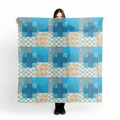 Oversized Blue Chiffon Scarf,Fashion Scarf,Festival Scarf,Printed Scarf,Womens…