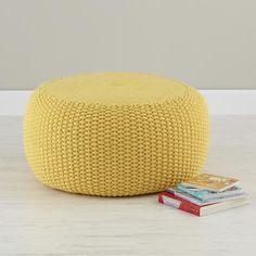 The Land of Nod | Kids Seating: Yellow Knit Braided Pouf Seater in Soft Seating