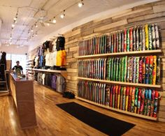 Board display, Many skate shop have a wooden lay out like this one, When ever i see one like this it just reminds me of wooden skate parks and also a natural feel to it.