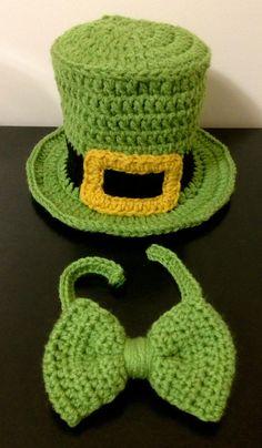 Chistera y pajarita de ganchillo para el día de san Patricio   -   Crochet St. Patrick's Day Top Hat & Bowtie