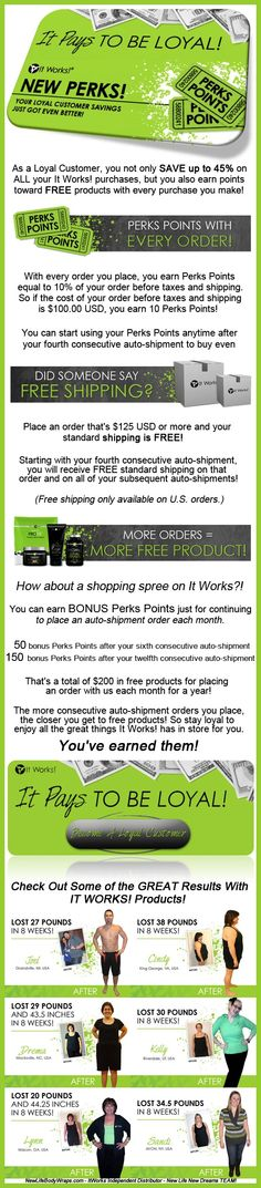 SAVE 45% OFF every purchase and earn perks points as an It Works Loyal Customer! Want to try the best selling It Works body wrap or the It Works Global Greens? Get 45% OFF today! #itworks #bodywrap #loyalcustomer #savemoney #newlifebodywraps Http://www.behindthewrap.com