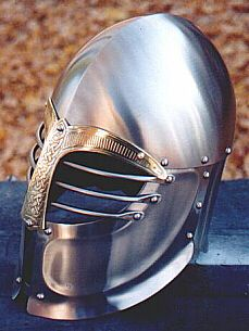 Celtic influenced / Viking helm by AB.  The large occulars give better peripheral vision than many closed helms and gies this helm an almost owlish appearance. SCA heavy. http://www.knownworldt.com/images/Ab/helm2.jpg