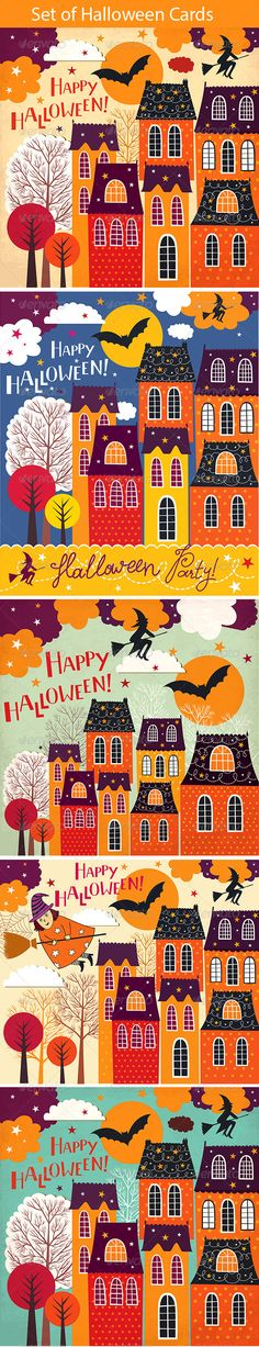 Set of Halloween holiday cards #GraphicRiver Set of 5 Halloween holiday cartoon cards. Images contains vector EPS 10 and jpg high resolution. All text in this illustrations is hand drawn. Great illustration for design brochure, covers, posters, wallpaper, greeting cards, package and any many other variants of use. Created: 12October12 GraphicsFilesIncluded: JPGImage #VectorEPS Layered: No MinimumAdobeCSVersion: CS Tags: architecture #autumn #bat #broom #buildings #card #cartoon #celebration…