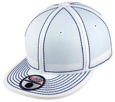Blank Heavy Stitch Fitted Cap - White/Royal