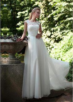 Graceful Lace & Tulle Jewel Neckline A-line Wedding Dresses