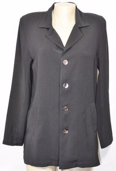 PRIVATE EDITION BY CHICO'S Black Jacket Blazer 1 Unlined Long Sleeve Made in USA #Chicos #Blazer