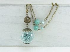 Glass ball pendant - Necklace with antique bronze tone chain and mint green tone beads - Glass bulb (NE-038)