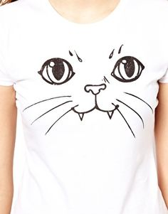 {Cat T-Shirt} Illustrated People - the fangs! my kitty has fangs that stick out like that :)