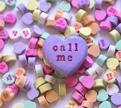 Valentines Day  Conversation Hearts  call me  Handmade by SkyeArt, $21.00