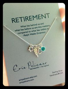 Retirement Gift / Charm Necklace / Personalized / Birthstone / Delicate Necklace on Etsy, #erinpelicano