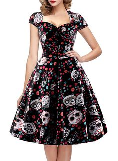 Adorable sugar skull and flowers print,a nice Costume for Halloween,Thanksgiving,Christmas Eve,Xmas festival Unique sweetheart neckline