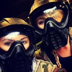 Always time for a selfie with your best galpal after a game of paintballing! #paintball #masks #forgirls #girls #gear #outfit #dayout #fun #friends #selfie #safety