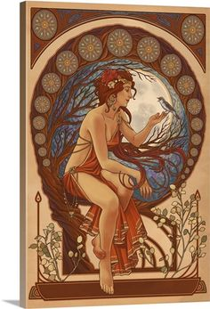 Woman and Bird - Art Nouveau: Retro Art Poster
