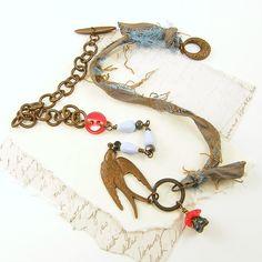 Bird and sari silk necklace