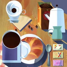 a Mike Yamada croissant and coffee still life illustration for breakfast
