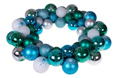 White /& Silver Green Modern Theme Festive Holiday D/écor Indoor//Outdoor Various Use Clever Creations Christmas Ornament Wreath Blue 13.5? x 13.5? x 2.75? Lightweight Shatter Resistant