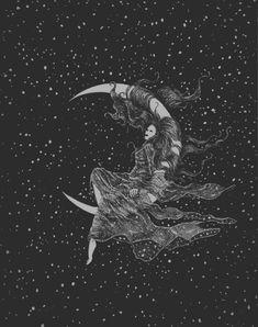 Tattoo moon la luna sky New Ideas Anime Chibi, Manga Anime, Sun Moon Stars, Sun And Stars, Wicca, Art Watercolor, Moon Painting, Hair Painting, Moon Magic