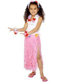 Head /& Wristbands *NEW* Smiffy/'s Hawaiian Fancy Dress Hen Do Purple /& Pink Leis