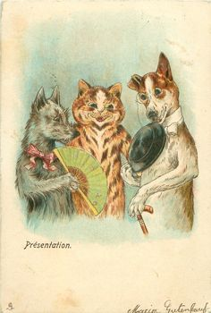 Louis Wain (unsigned) - sophisticated cats and dogs