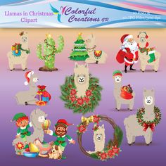 20 % OFF SALE Christmas Digital Clipart, Llamas in Christmas  Digital Images, Christmas Tree, Elves, Santa Claus, Personal & Commercial Use Christmas Elf, Christmas Presents, Christmas Wreaths, Christmas Decorations, Cute Llama, Off Sale, Llamas, School Projects, Digital Image