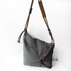Grey Canvas Bag/ Retro Designer mens womens canvas by chiclick, $49.00