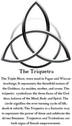 The Triquetra: The Triple Moon is used in Pagan and Wiccan teachings. It represents the threefold nature of the Goddess: As maiden, mother and crone. The Triquetra symbolizes the three faces of the Goddess, balance of the Mind, Body and Spirit. The circle Wiccan Spells, Witchcraft, Wiccan Symbols, Celtic Symbols And Meanings, Celtic Protection Symbols, Welsh Symbols, Celtic Paganism, Moon Symbols, Spiritual Symbols
