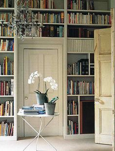 Maybe my living room should be a library?  I have 5 doors and an opening in my tiny narrow room.