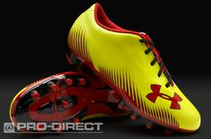 Under Armour Junior Football Boots - Under Armour Blur Challenge II FG - Firm Ground - Kids Soccer Cleats - Yellow-Black-Red