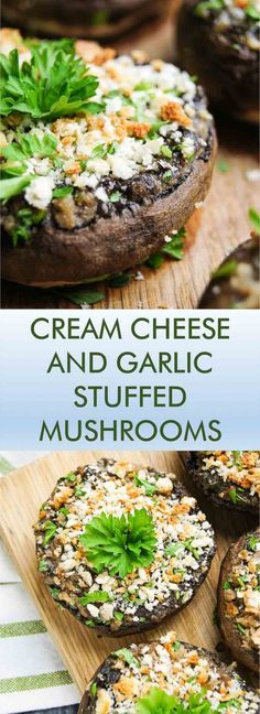cheese and garlic stuffed mushrooms Cream Cheese and Garlic Stuffed Mushrooms is an old classic - this 30 min recipe is easy, delicious and will make you come back for just one more again and again! Vegetable Recipes, Vegetarian Recipes, Cooking Recipes, Healthy Recipes, Mushroom Dish, 30 Min Meals, Snacks, Vegetable Dishes, Appetizer Recipes