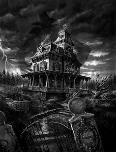 I love to draw haunted houses.....so trying to draw this one!