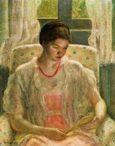 Frederick Frieseke (1874-1939) Girl with Mirror 1932