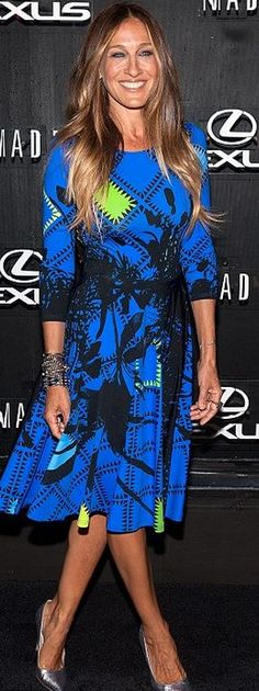 Sarah Jessica Parker: Dress – Preen Shoes – SJP Collection Purse – Chanel Earrings – Fred Leighton Rings – Solange Azagury-Partridge