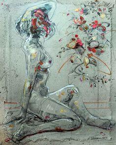 SIMONE 3 (Painting),  65x81 cm by Raluca Vulcan