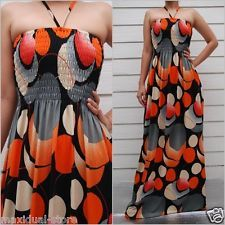 WOMENS SUMMER PRINTED SEXY HALTER CASUAL MAXI LONG DRESS SIZE L