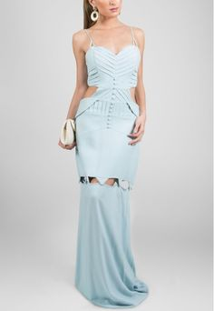 dda60e4cf50c POWERLOOK - Aluguel de Vestidos Online - Vestido Polinésia longo de alças  com recortes na cintura