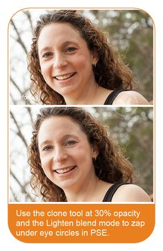 Photoshop Elements Tutorial: Tricks for Removing Under Eye Circles by Erin. http://www.texaschicksblogsandpics.com/photoshop-elements-tutorial-tricks-for-removing-under-eye-circles/