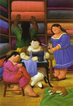 2000 'The Seamstresses & a cat', Fernando Botero Medellin, Colombia) Frida Diego, James Ensor, Illustrator, Images Vintage, Diego Rivera, Art Database, Fat Women, Naive Art, Cat Art